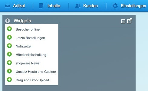 Shopware 5 - Einstellungen - Widgets