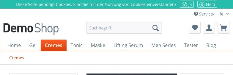 Shopware 5 - Theme anpassen - Header Cookie