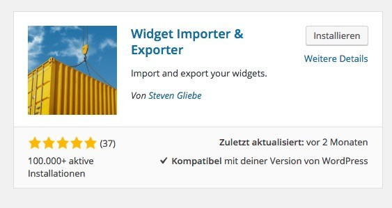 Wordpress Import / Export Plugins -Widget Importer