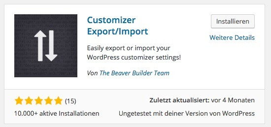 Import : Export WordPress Plugin - Customizer Export:Import
