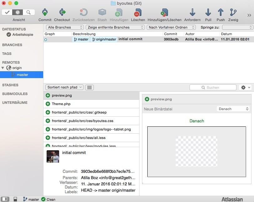 Shopware 5 Entwicklung mit Git - SourceTree nach Commit