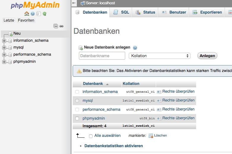 Shopware 5 lokal installieren - phpMyAdmin Übersicht