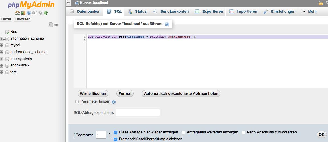 Shopware 5 lokal installieren - root Passwort