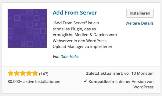 WP Plugin - Add from server
