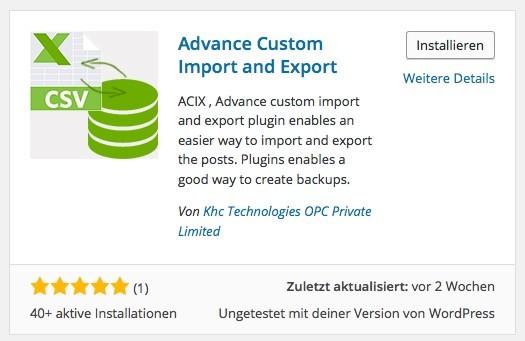 Wordpress Import / Export Plugin - Beitrage exportieren