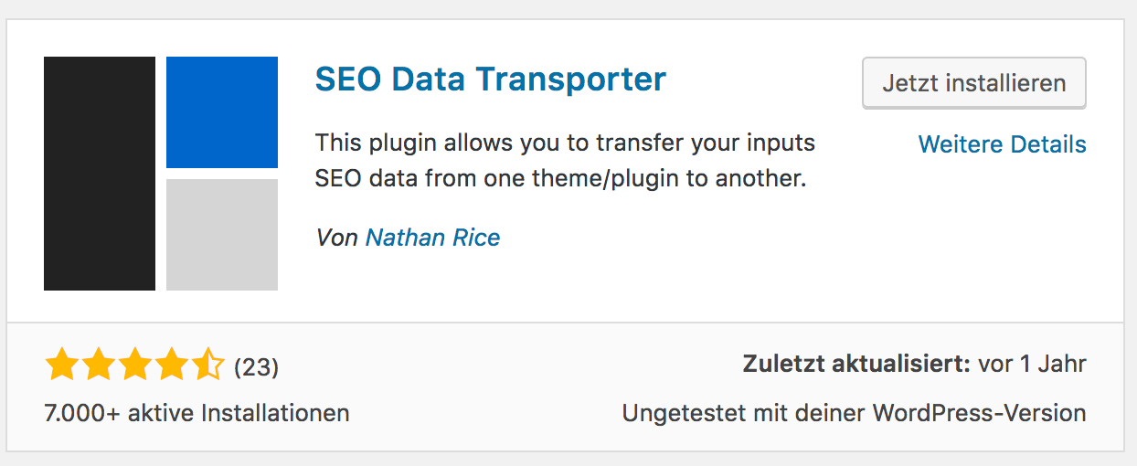 Wordpress Import/Export Plugins - SEO Data Transporter