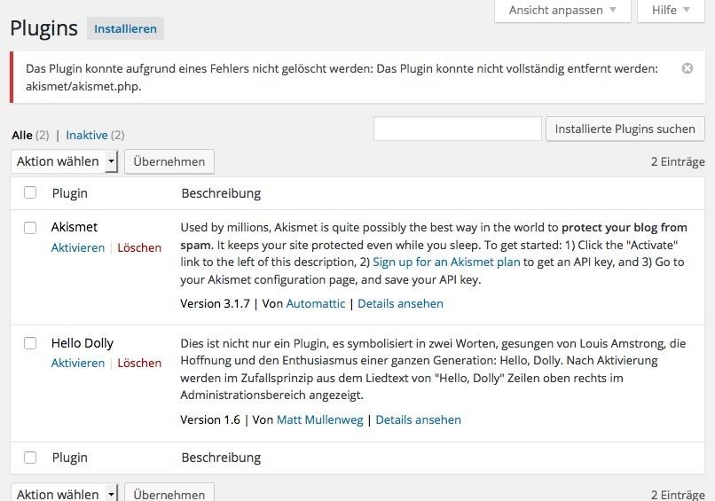 Wordpress verlangt FTP Login bei Plugin Installation - Fehlermeldung