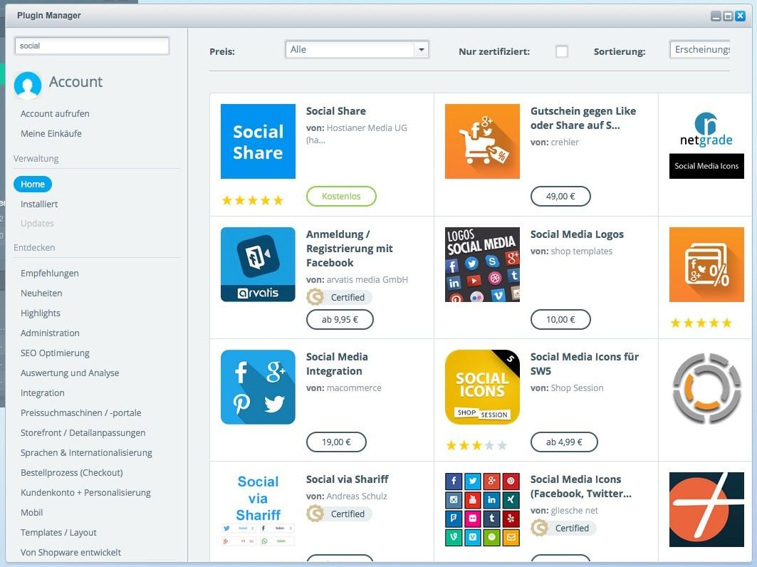 Shopware 5 - Einstellungen - Social Sharing Plugin