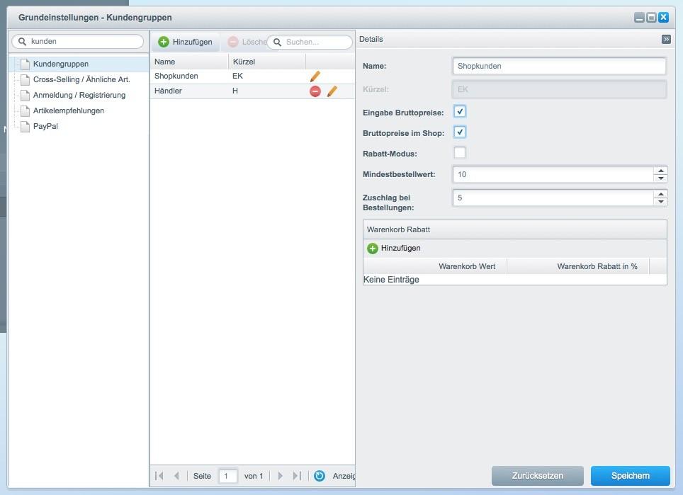 Shopware 5 Konfiguration - Mindermengenzuschlag