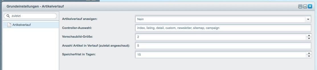 Shopware 5 - Konfiguration - Artikelverluf