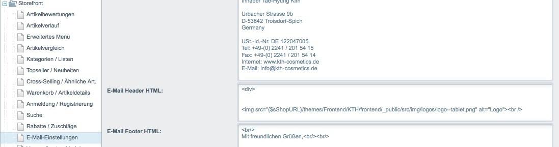 Shopware 5 Konfiguration - E-Mail Header Logo