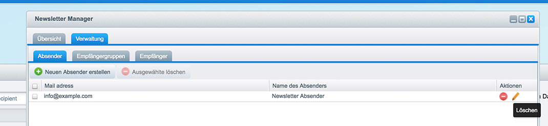 Shopware 5 Konfiguration - Newsletter Absender