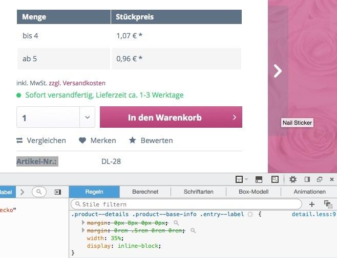 Shopware 5 Theme erstellen - Produktdetails - Artikelnummer