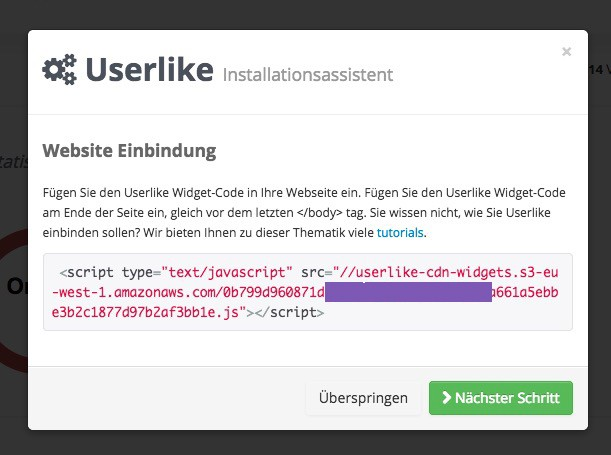 Userlike - Installationsassistent