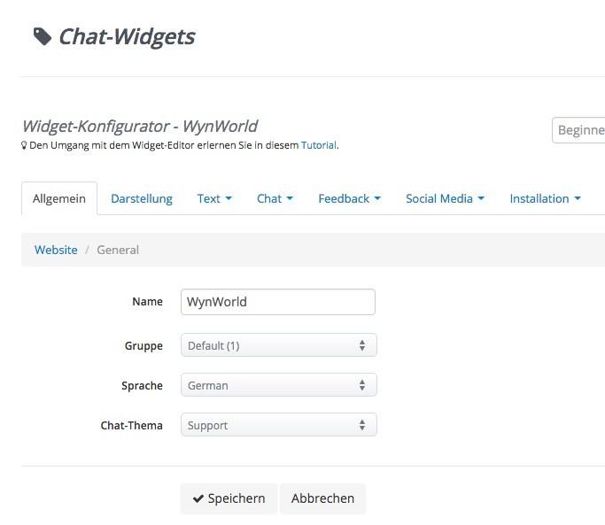 Userlike - Widget Einstellungen - Allgemein