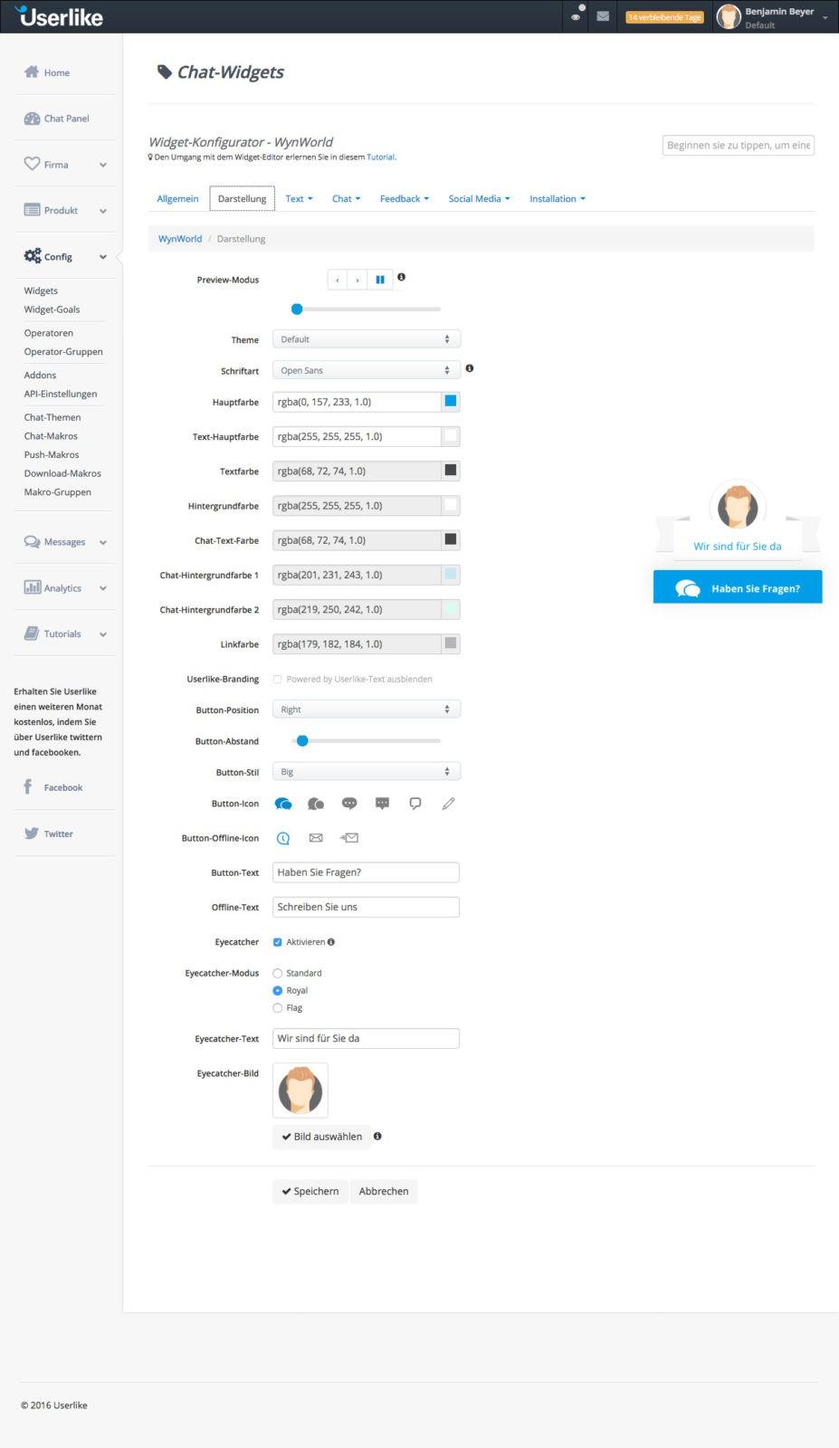 Userlike - Widget Einstellungen - Darstellung