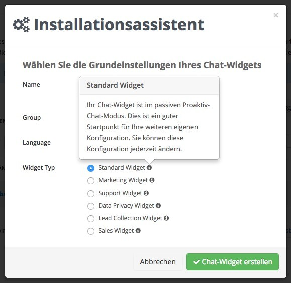 Userlike Widget Einstellungen - Widget Typ