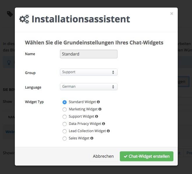 Userlike - Widget-Installationsassistent