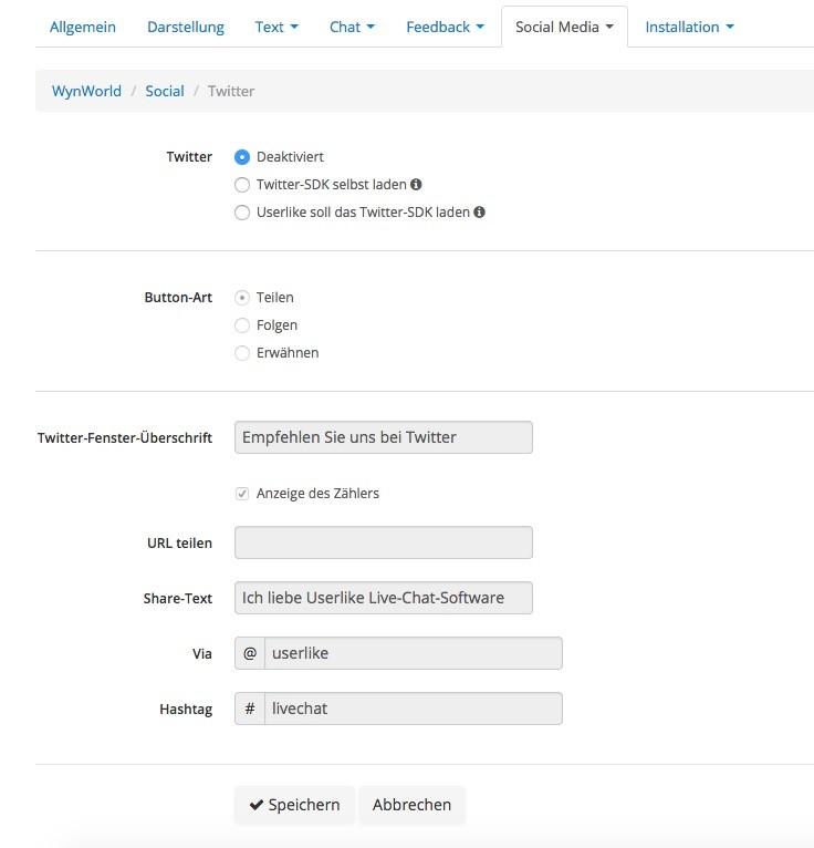 Userlike - Widget Konfiguration - Social Media - Twitter