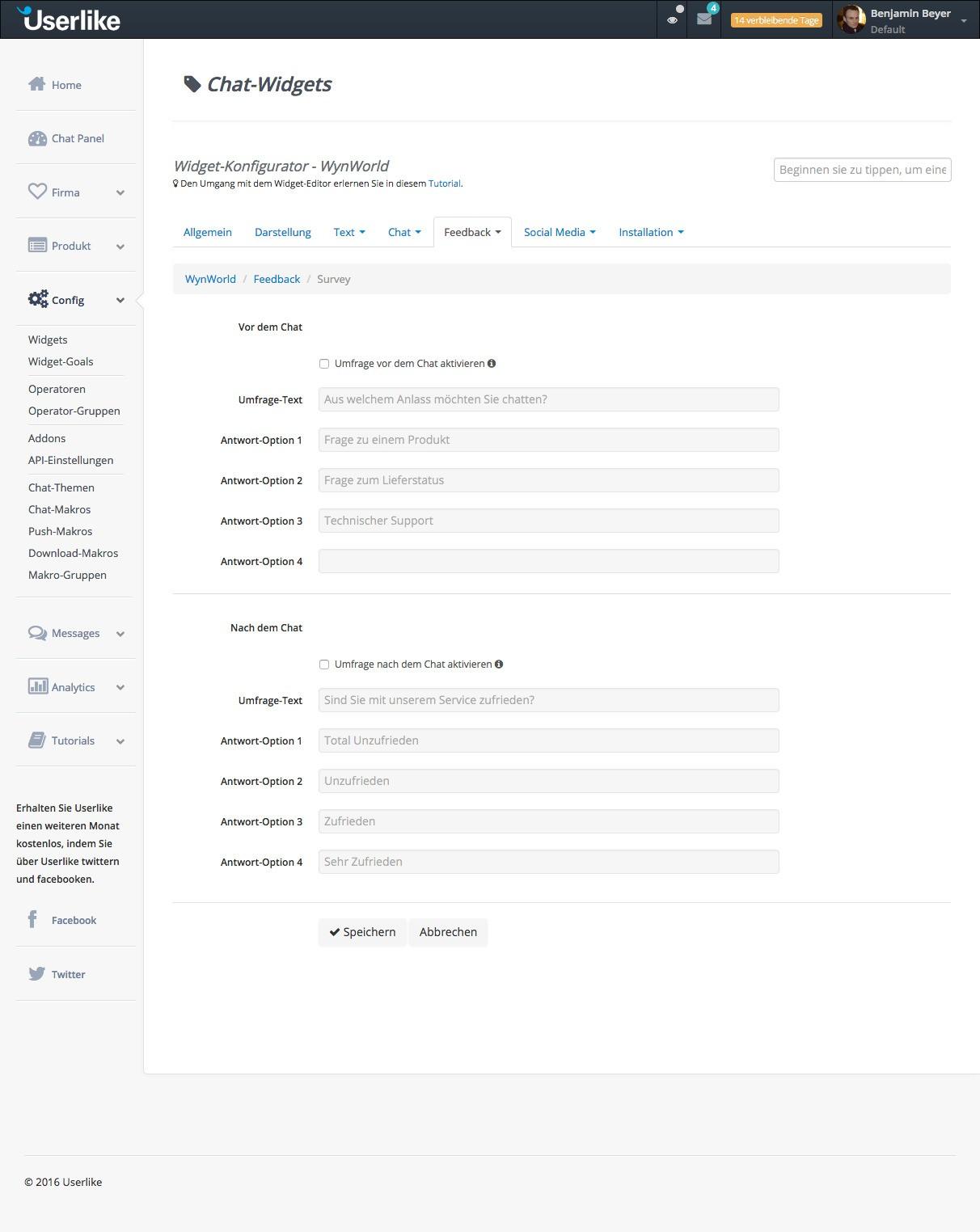 Userlike - Widget Konfigurator - Feedback Umfrage