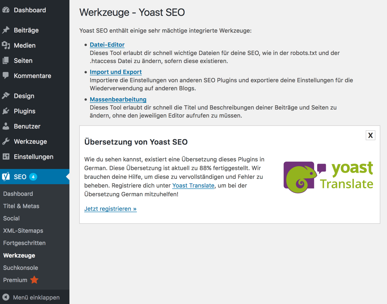Yoast SEO Import von All in One SEO - Yoast Werkzeuge