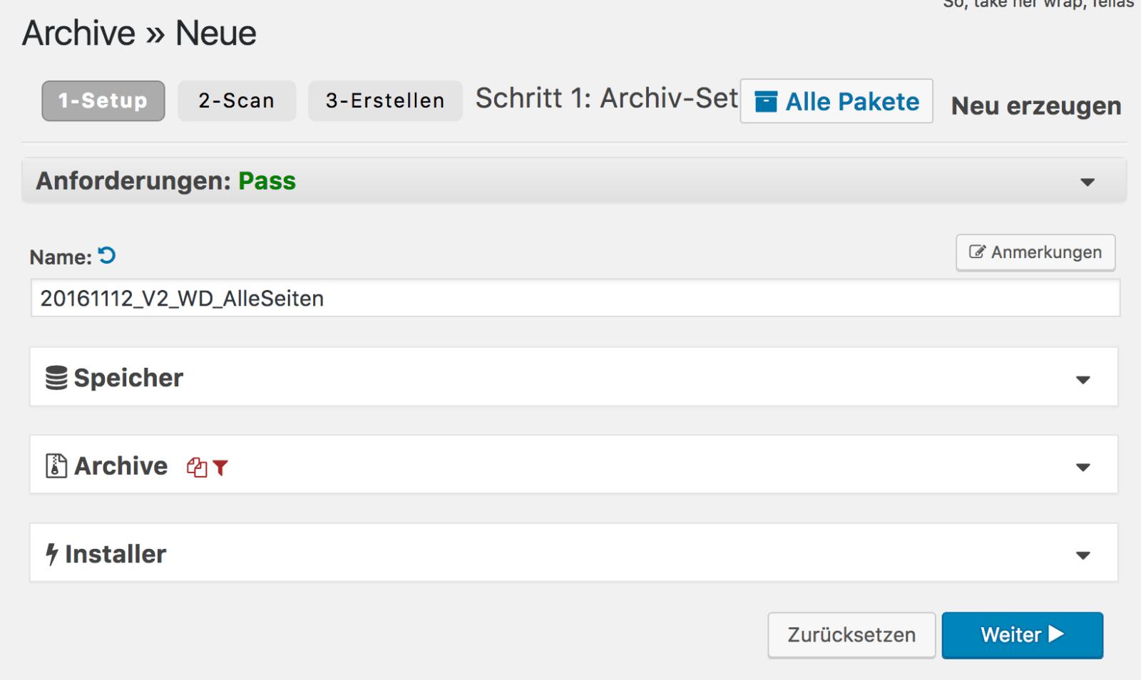 Wordpress umziehen-Archiv-Export Einstellungen