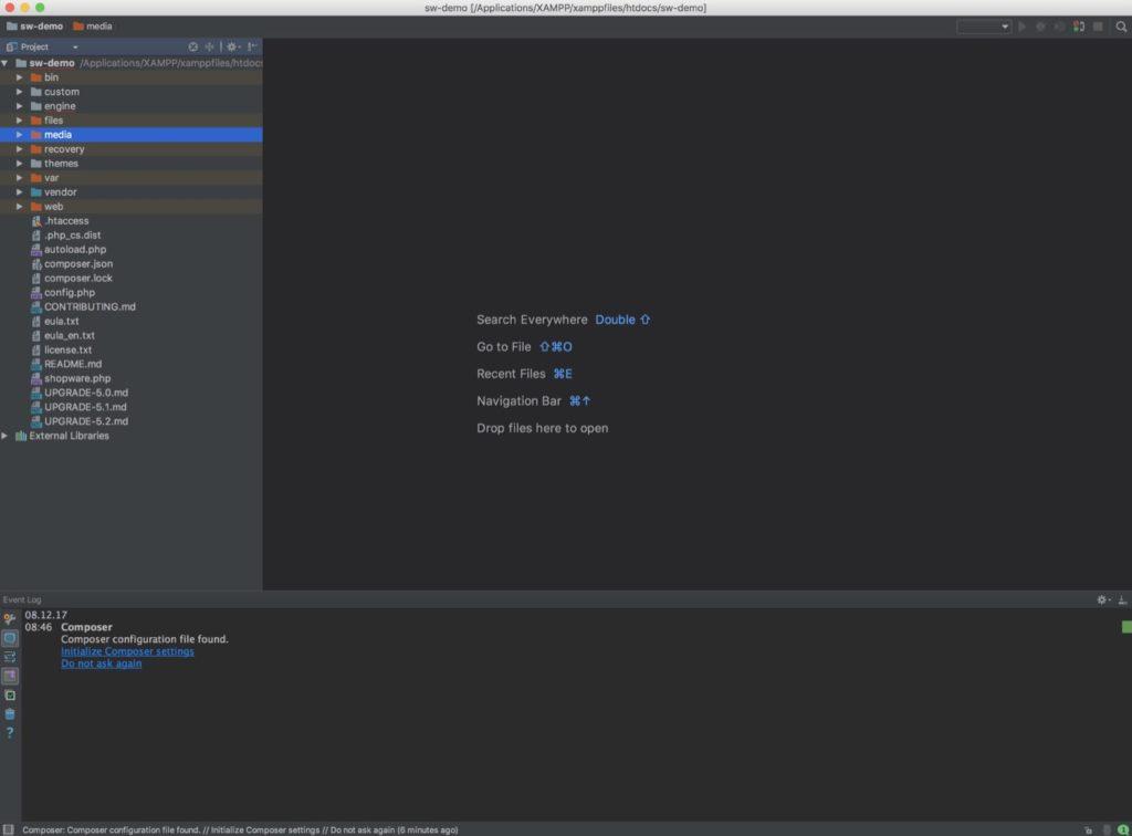 PhpStorm - Projekt im Editor