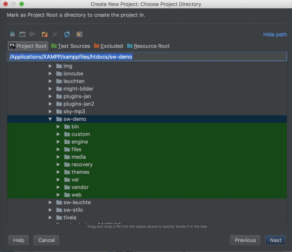 PhpStorm auf Mac - Projekt mit vorhandenen Dateien markieren