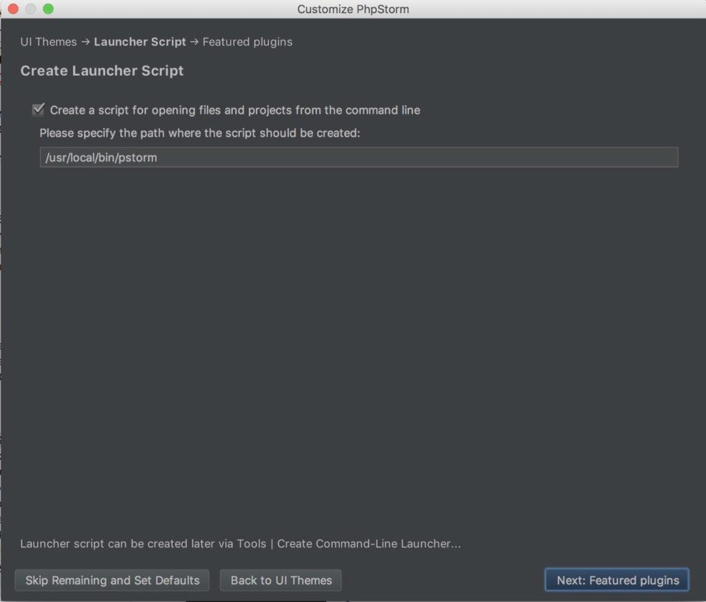 PhpStorm auf Mac installieren - Komandezeilen-Datei