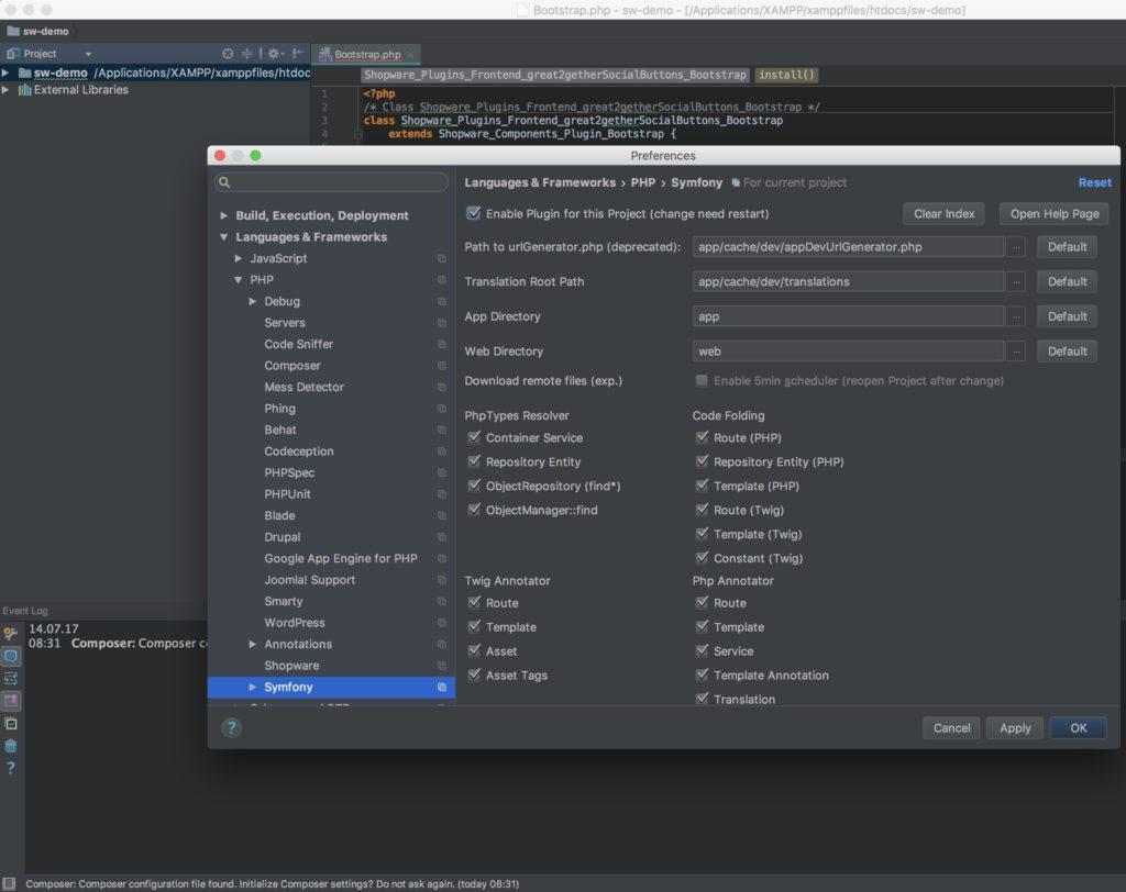 Shopware Entwicklung mit PHPStorm - Shopware Plugin - Projekt Konfiguration