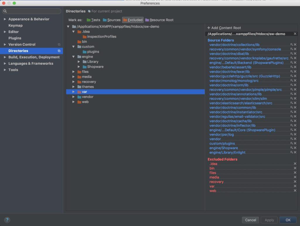 Shopware Entwicklung mit PHPStorm - Shopware Plugin - Projekt Konfiguration - Ordner markieren