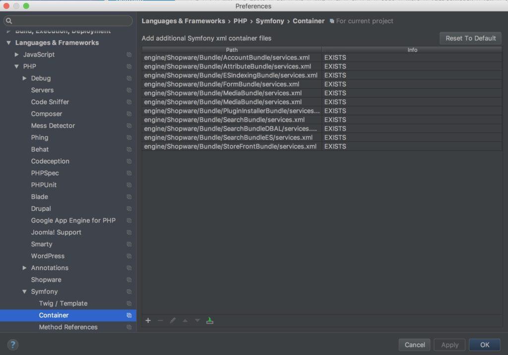 Shopware Entwicklung mit PHPStorm - Shopware Plugin - Projekt Konfiguration - XML Dateien