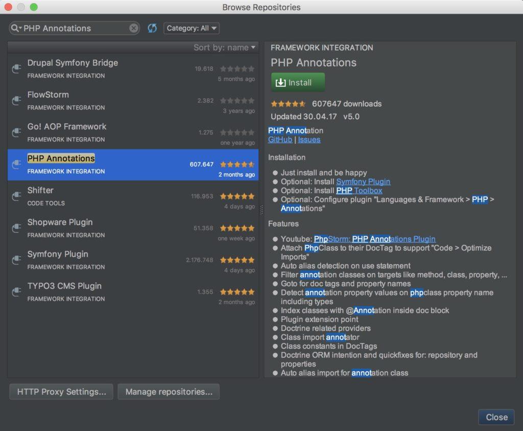 Shopware Entwicklung mit PHPStorm - Shopware Plugin installieren - PHP Annotations