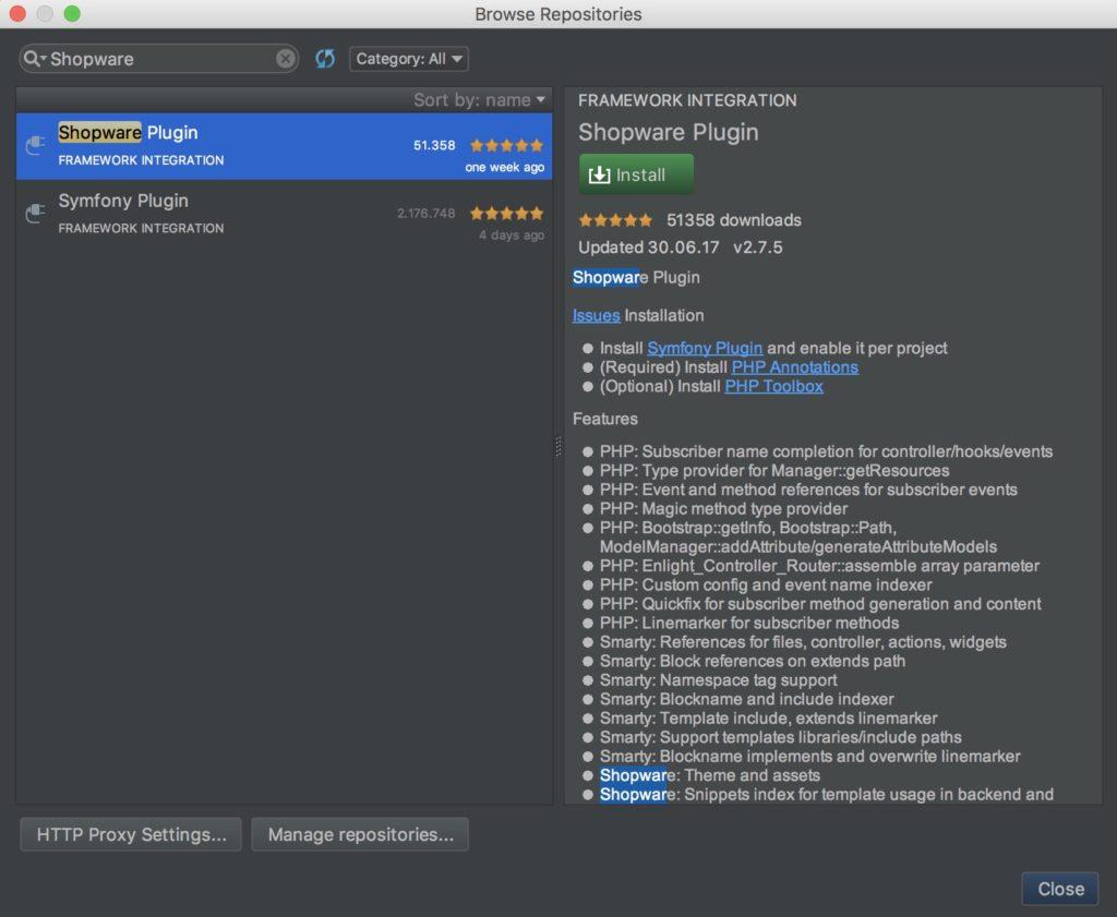 Shopware Entwicklung mit PHPStorm - Shopware Plugin installieren - Repository Suche