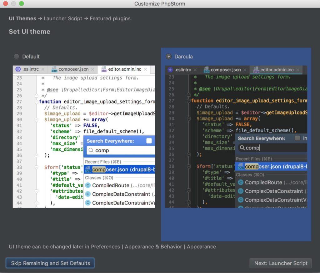 phpStorm auf Mac installieren - Theme