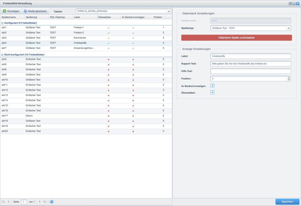 Eine Tabs in Shopware 5 einbinden - Attribut konfigurieren