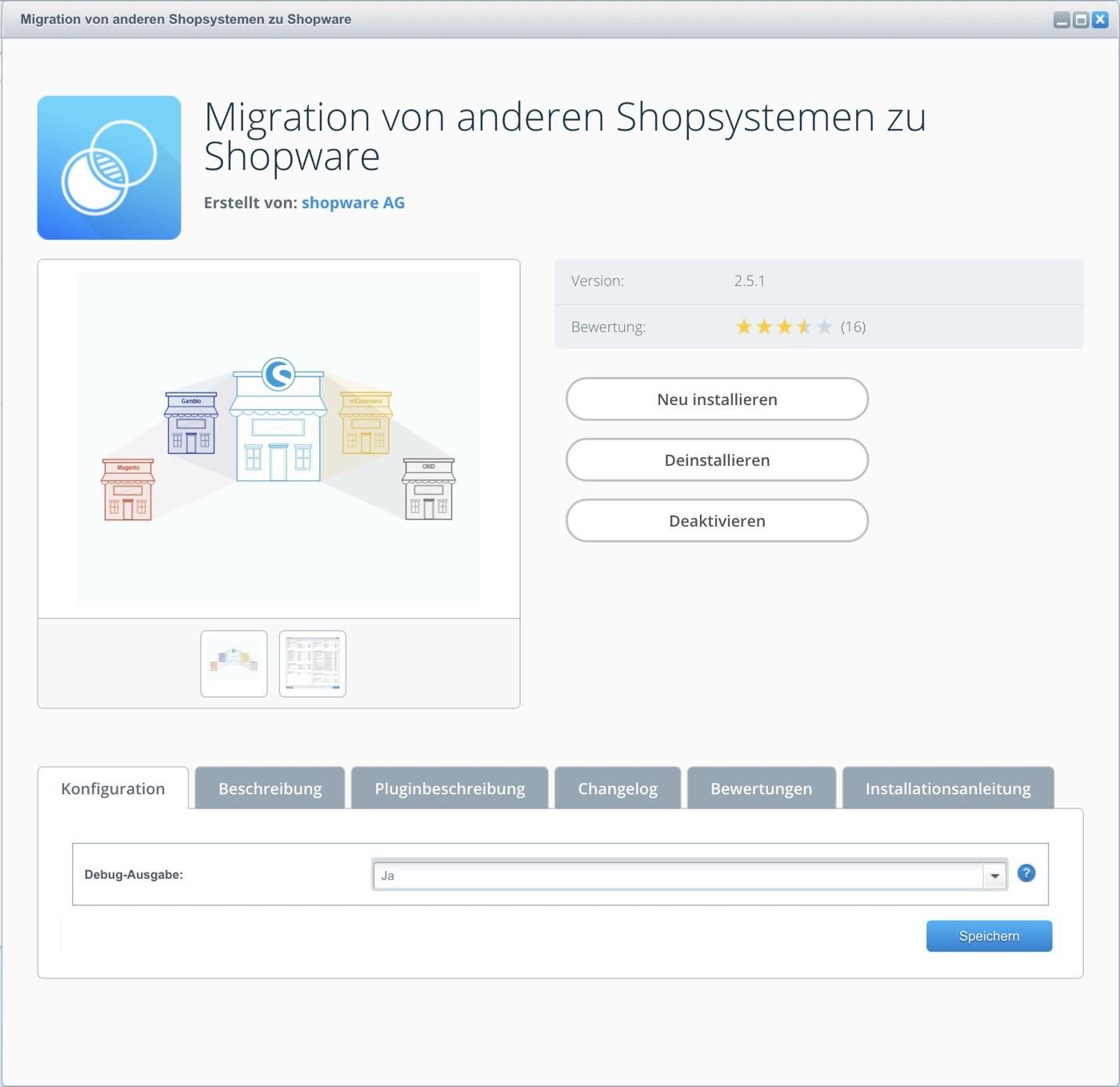 Shop Migration zu Shopware 5 - Plugin Konfiguration