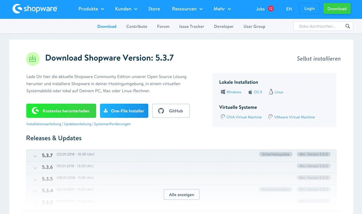 Shopware 5 lokal mit Bitnami Installer installieren - Download