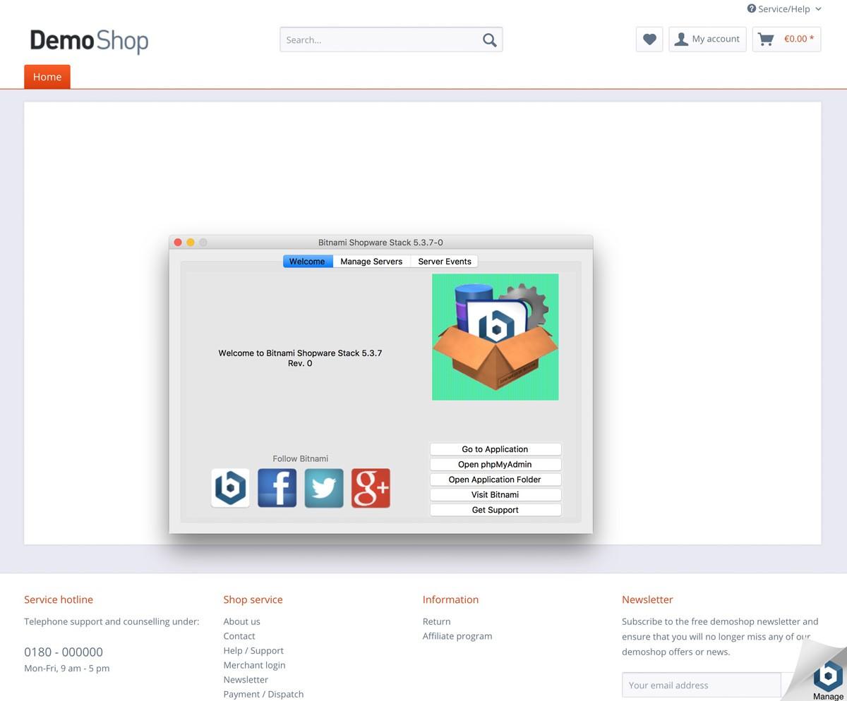 Shopware 5 lokal mit Bitnami Installer installieren - Ansicht