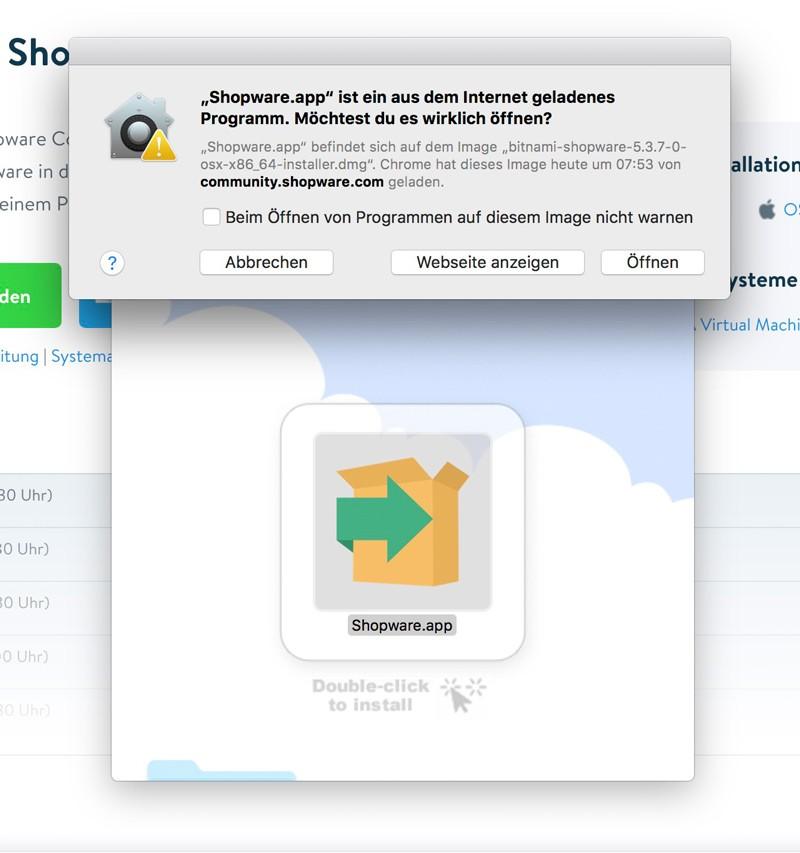 Shopware 5 lokal mit Bitnami Installer installieren - Bestätigen