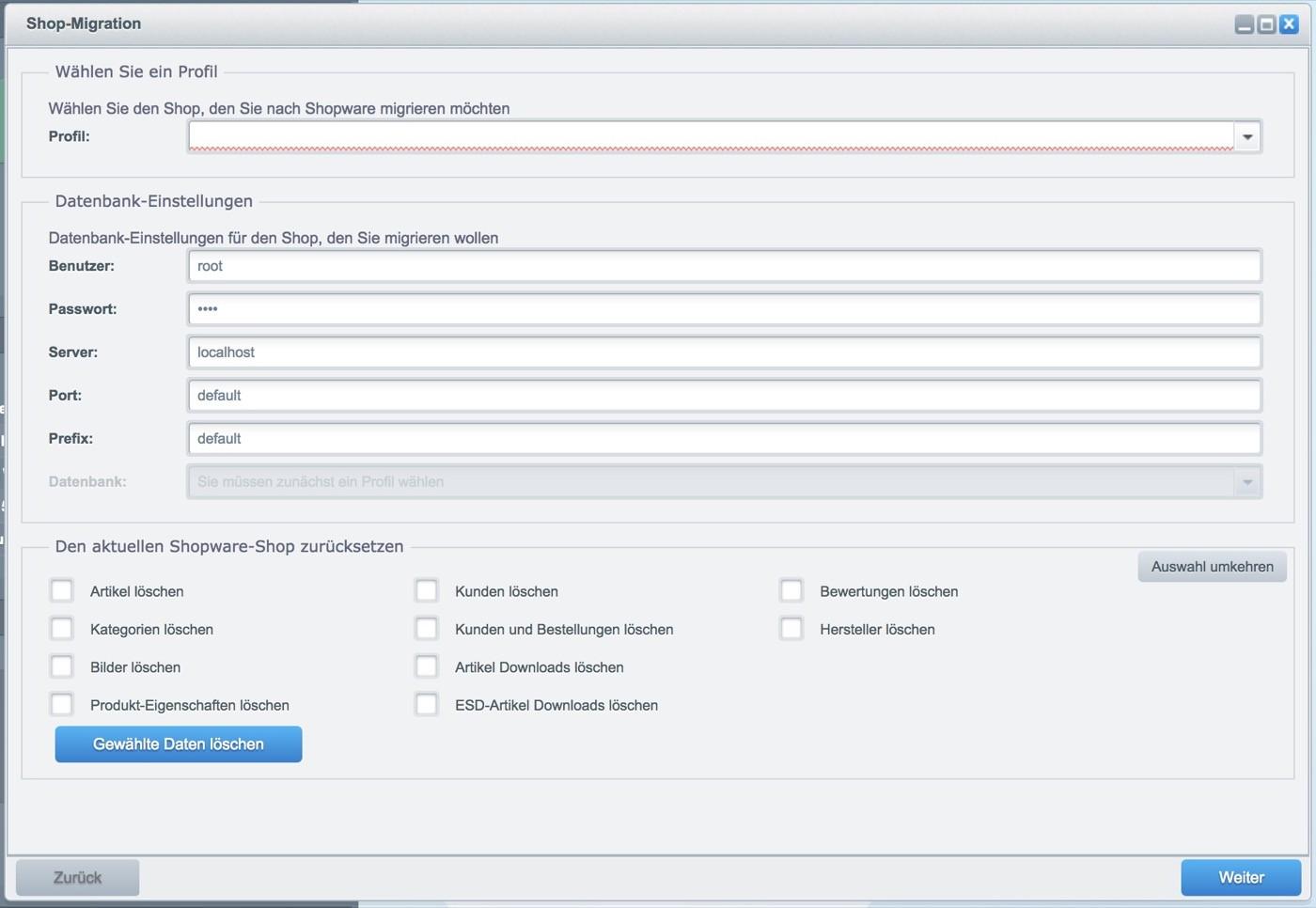 Migration zu Shopware 5 - Datenbank-Einstellungen
