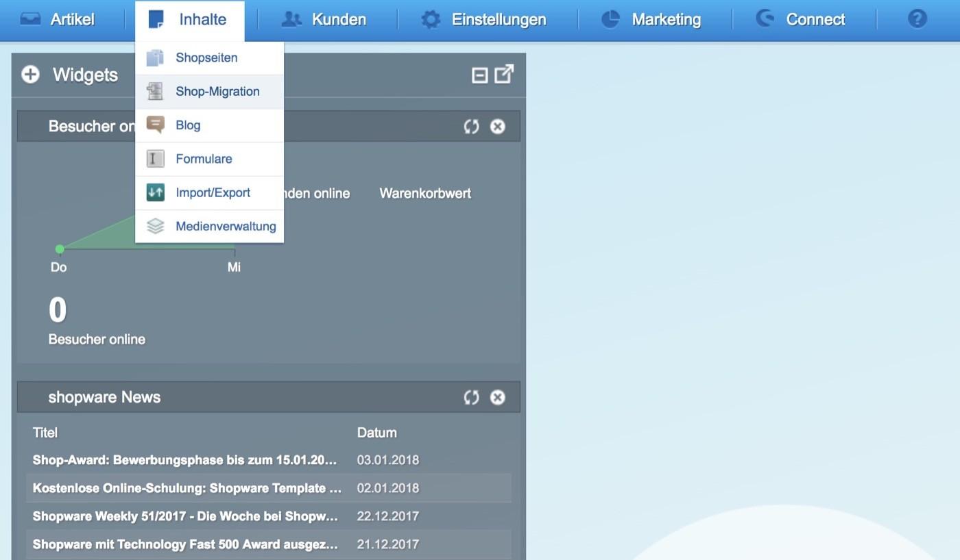 Migration zu Shopware 5 - Navigation