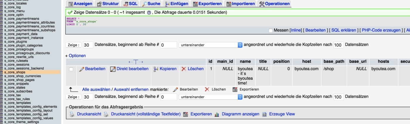 Shopware umziehen / Domain-Transfer - Host-Domain anpassen