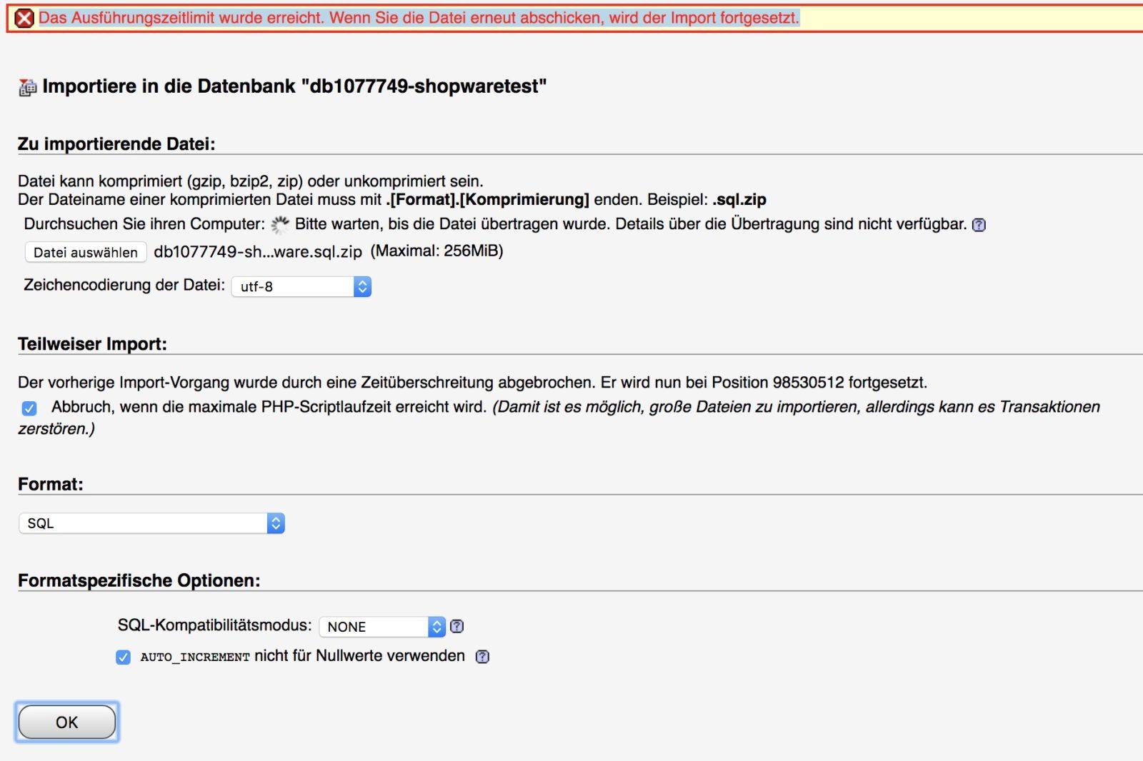 Shopware 5 - grosse Datenbank importieren
