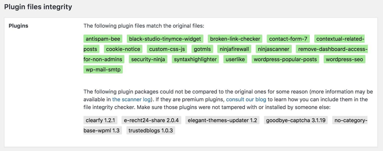 20 - WordPress Sicherheit - Ninja Scanner - Scan - Plugins-Liste