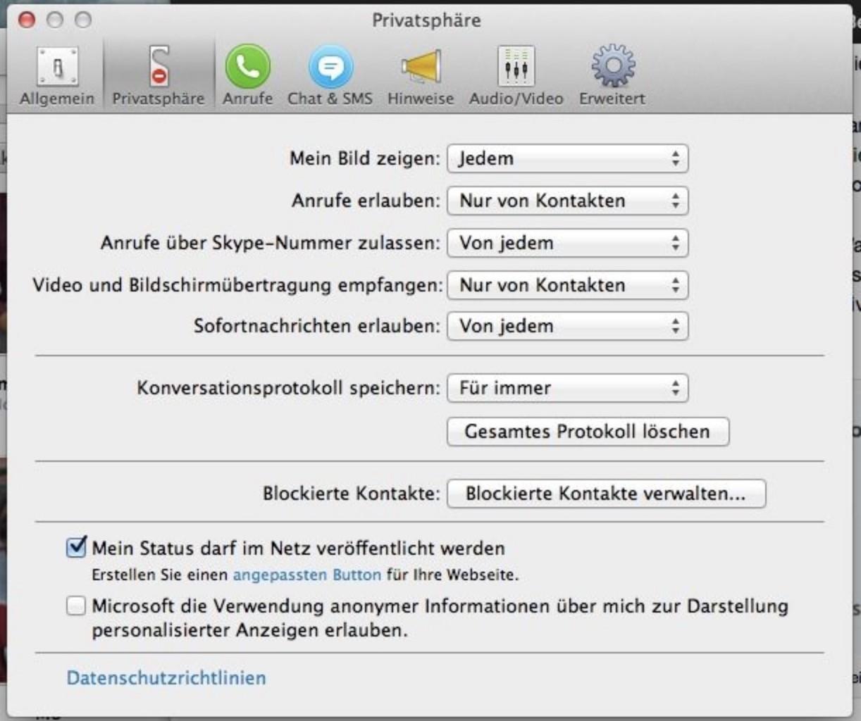 Shopware 5 Konfiguration - Skype Status-veröffentlichen