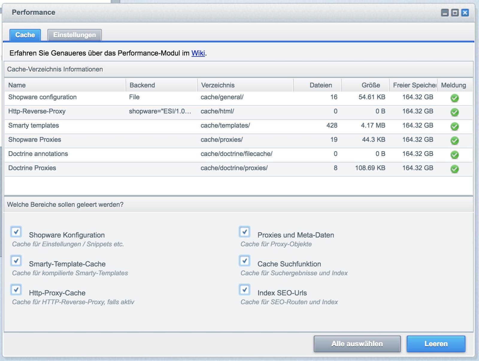 Shopware Update auf Shopware 5 - Cache löschen