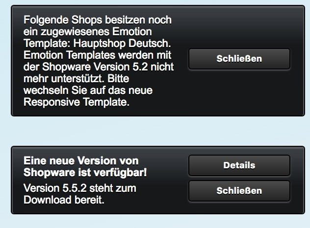 Shopware Update auf Shopware 5 - Emotion Template Warnung