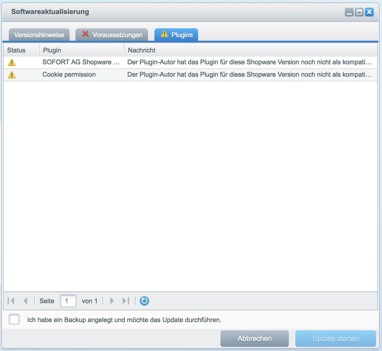 Shopware Update auf Shopware 5 - SOFORT und Cookie Plugin