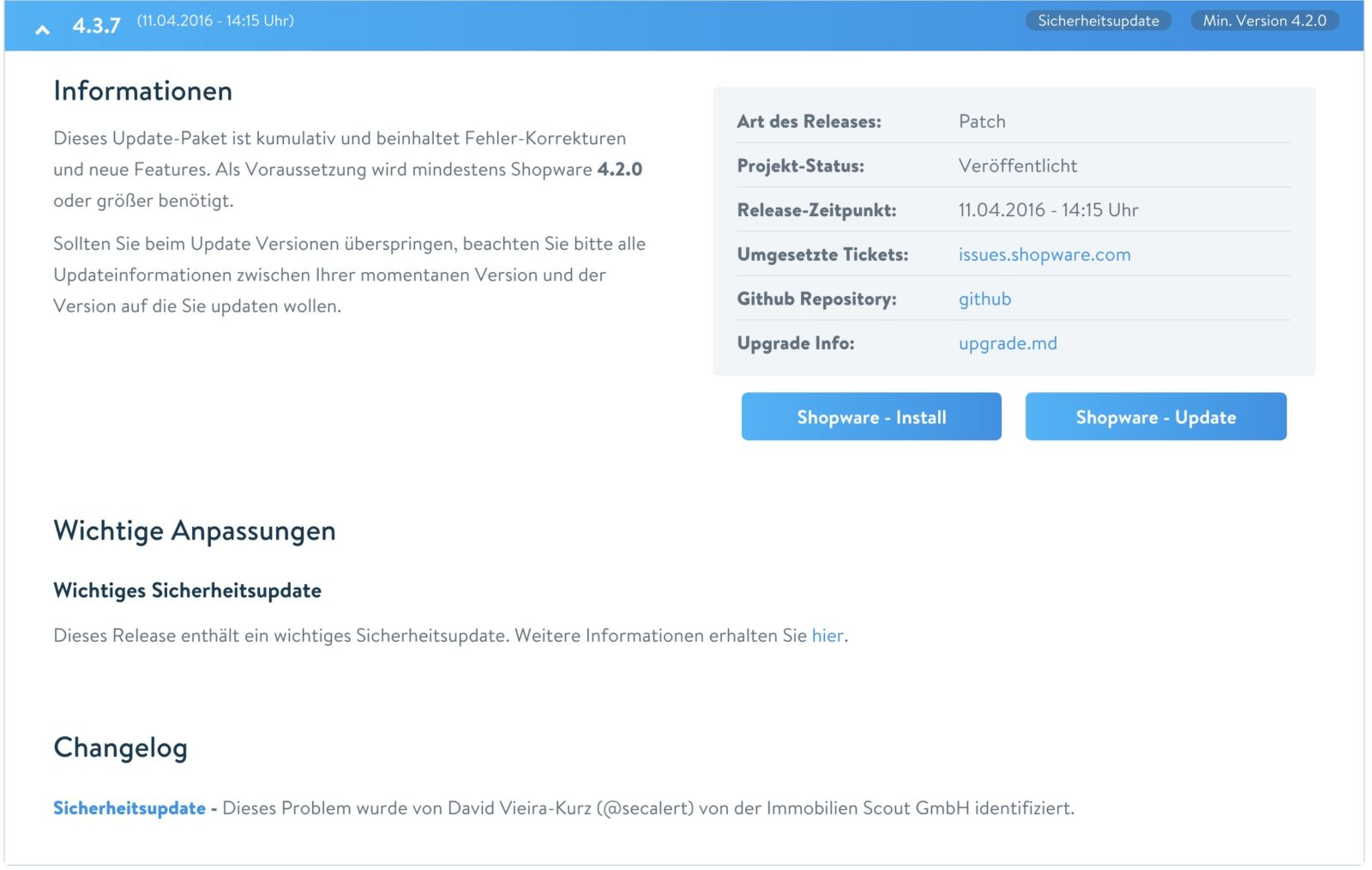 Shopware Update auf Shopware 5 - Updatepaket SW 4.3.7